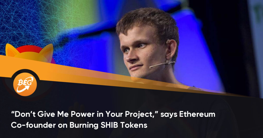 """""""Don't Give Me Power in Your Project,"""" says Ethereum Co-founder on Burning SHIB Tokens"""