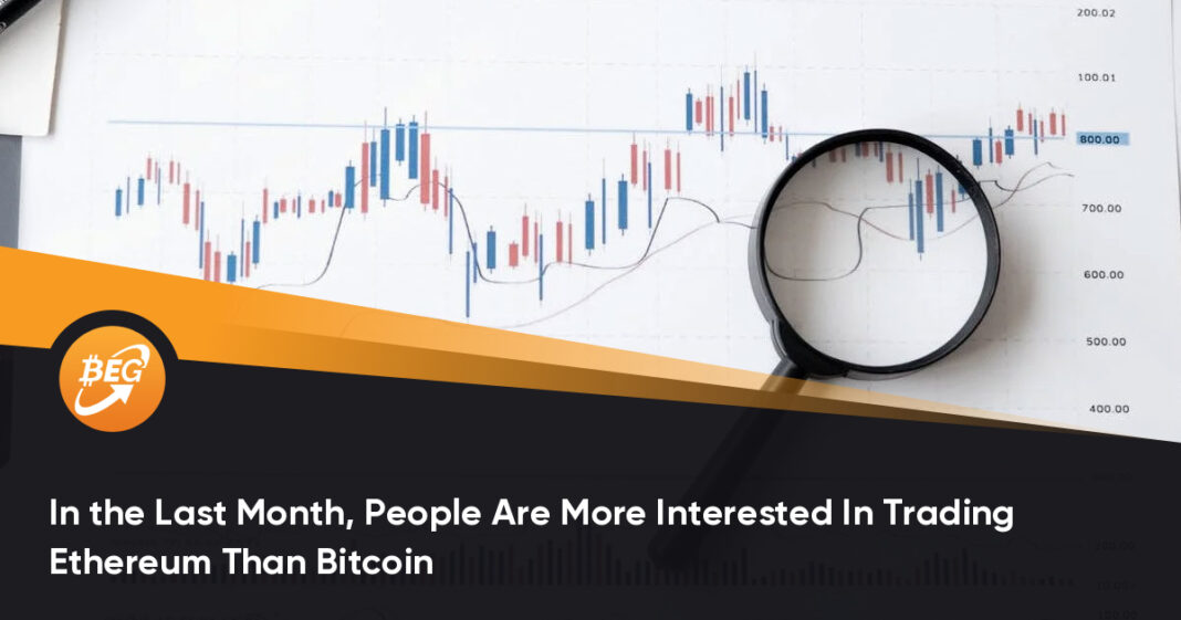 In the Last Month, People Are More Interested In Trading Ethereum Than Bitcoin