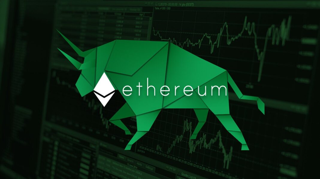 ethereum and a green bull over a trading interface